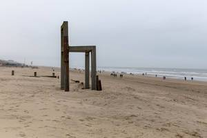 Giant wooden chair stands on coast of Zandvoort aan Zee, Netherlands