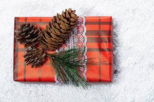 Gift box for the New year decorated with Christmas tree branches and cones on the background of snow (Flip 2019)