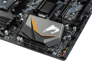 Gigabyte Aorus logo on the computer motherboard (Flip 2019)