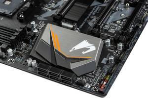 Gigabyte Aorus logo on the computer motherboard (Flip 2019)