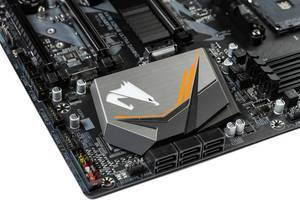 Gigabyte Aorus logo on the computer motherboard