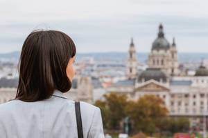 Girl enjoying a view from Buda Castle