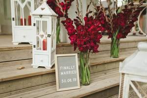 Gladiolus Flowers In Glass Vase