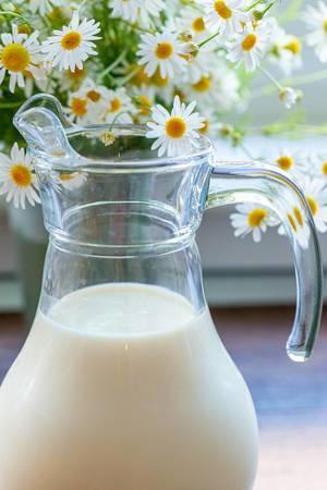 Glaskaraffe mit Milch und einem Strauß Gänseblümchen auf der Fensterbank im Hintergrund