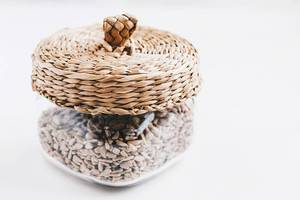 Glass jar with sunflower seeds
