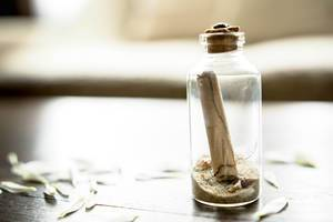 Glass message bottle
