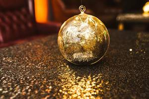 Glitter Golden Decor Ball On The Table (Flip 2020)