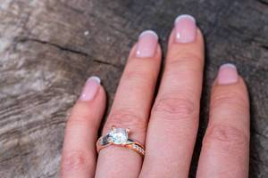 Gold ring on woman