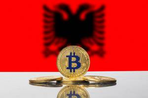 Golden Bitcoin and flag of Albania