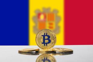 Golden Bitcoin and flag of Andora
