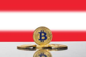 Golden Bitcoin and flag of Austria