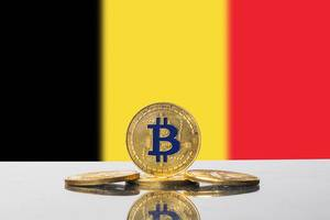 Golden Bitcoin and flag of Belgium