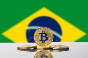 Golden Bitcoin and flag of Brasil