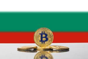 Golden Bitcoin and flag of Bulgaria