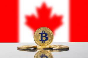 Golden Bitcoin and flag of Canada