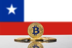 Golden Bitcoin and flag of Chile