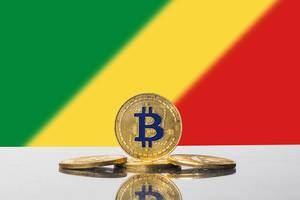 Golden Bitcoin and flag of Congo