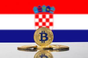 Golden Bitcoin and flag of Croatia