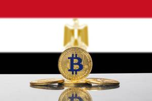 Golden Bitcoin and flag of Egypt