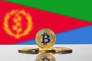 Golden Bitcoin and flag of Eritrea
