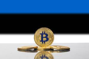 Golden Bitcoin and flag of Estonia