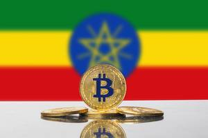 Golden Bitcoin and flag of Ethiopia