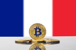 Golden Bitcoin and flag of France