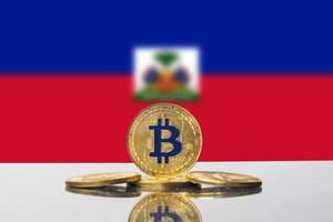 Golden Bitcoin and flag of Haiti