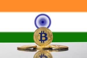 Golden Bitcoin and flag of India