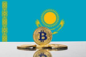 Golden Bitcoin and flag of Kazakhstan