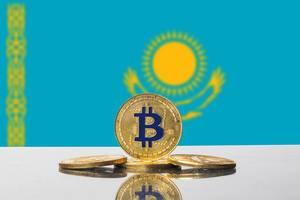 Golden Bitcoin and flag of Kazakhstan