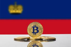 Golden Bitcoin and flag of Liechtenstein