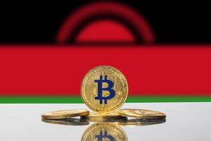 Golden Bitcoin and flag of Malawi