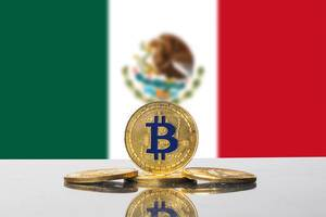Golden Bitcoin and flag of Mexico