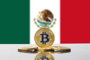 Golden Bitcoin and flag of Mexico