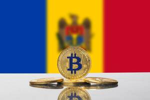 Golden Bitcoin and flag of Moldova