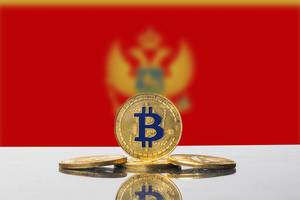 Golden Bitcoin and flag of Montenegro