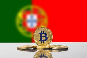 Golden Bitcoin and flag of Portugal