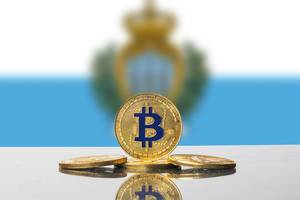 Golden Bitcoin and flag of San Marino