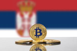 Golden Bitcoin and flag of Serbia