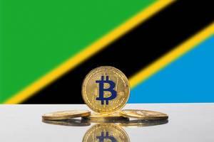 Golden Bitcoin and flag of Tanzania