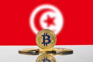 Golden Bitcoin and flag of Tunisia