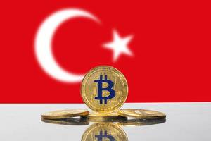 Golden Bitcoin and flag of Turkey