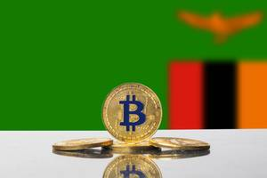 Golden Bitcoin and flag of Zambia