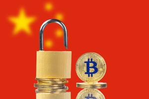 Golden Bitcoin, padlock and flag of China