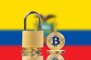 Golden Bitcoin, padlock and flag of Ecuador