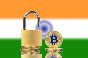Golden Bitcoin, padlock and flag of India