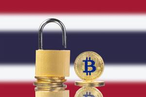 Golden Bitcoin, padlock and flag of Thailand