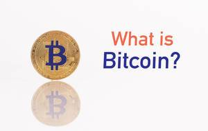 Golden Bitcoin with text What is Bitcoin?