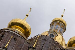 Golden domes of Vladimirskaya Church in Saint Petersburg